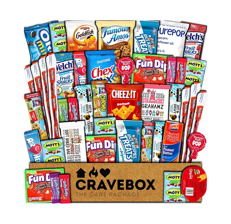 photo of many different kinds of snacks and candies in a box from crave box