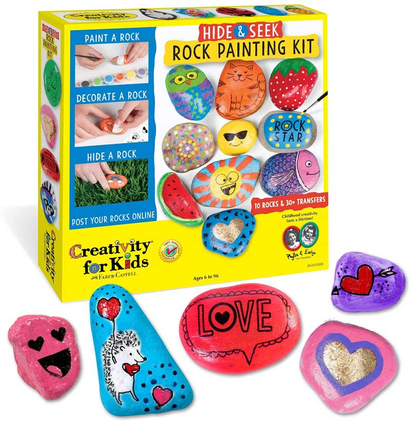 Image of a box that contains a rock painting kit and several painted rocks